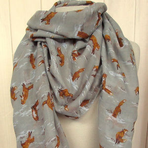 Little Foxes Rectangular Scarf Wrap Printed Villag